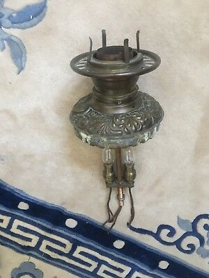 Antique Banquet Lamp Font Parts Assembly Electrified Signed 1895 victorian