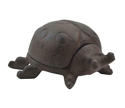 Lady Bug Hide A Key Box Distressed Brown Cast Iron Garden Flower Bed Decor