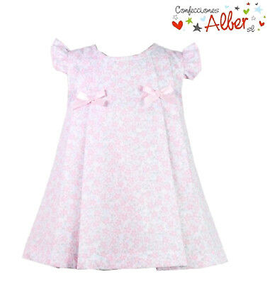 "Pink and White Baby Girl's Floral Cap Sleeve Summer Dress-Spanish Design ""Alber"""