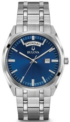 """New Bulova Silver Stainless Steel Blue Dial Men' s Watch 96C125""""New Style"""""""
