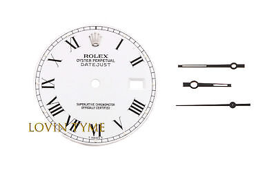 Rolex Mens Quickset Datejust White Buckley Roman Numeral Dial And Matching Hands