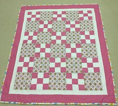 New Handcrafted Cotton Pink/Multicolor Owl Print 9-Patch Baby Quilt