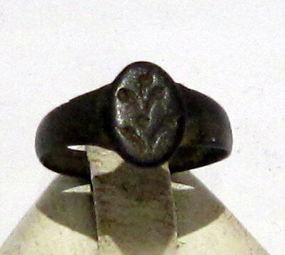 Beautiful Post-Medieval Bronze Kids Ring With Engraving On The Top # 527