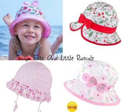 Baby Girl Toddler Holiday Beach Summer Sun Cap Hat UV Protection Size 0-12 years