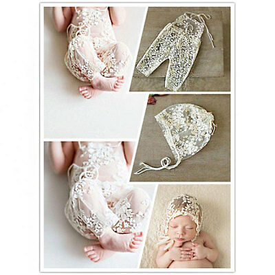 Baby Girl Lace Floral Romper Jumpsuit Hat Photo Prop Photography Costume