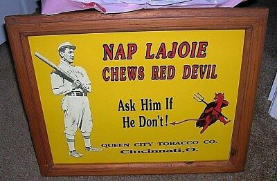 Nap Lajoie Chewing Tobacco Tin sign Wood Framed Ready to Hang