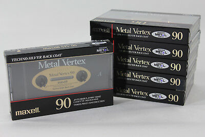 Maxell Metal Vertex 90 Cassette Tapes 6 count NEW~!!