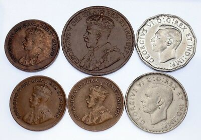 Canada Lot of 6 Coins (1915 - 1945, 1 cent - 5 cent) XF-AU Condition