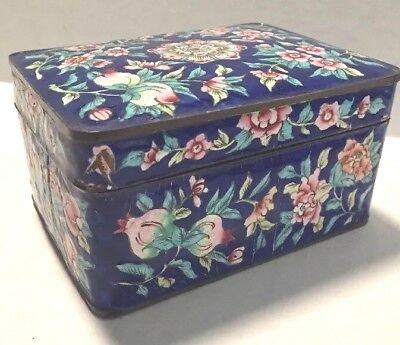 Vintage  Antique Chinese Canton Enamel Box Dark Blue Flowers 5 Inches