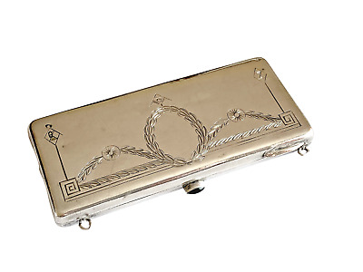 Imperial Russian Silver Cigarette Case With 14k Gold Application Circa 1917