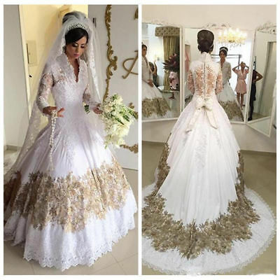 VINTAGE MUSLIM V Neck Long Sleeve White/Ivory Lace Bridal Gowns ...