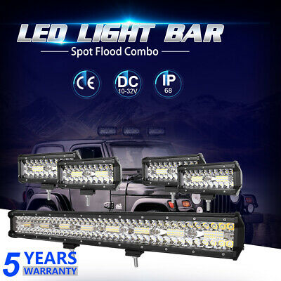 "42""INCH 3360W 3-Row LED Work Light Bar Spot Flood Combo Offroad SUV Lamps 40/44"