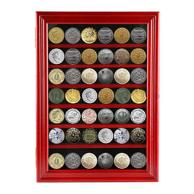 Red Military Challenge Coin Display Case Casino Poker Chip Shadow Box Cabinet