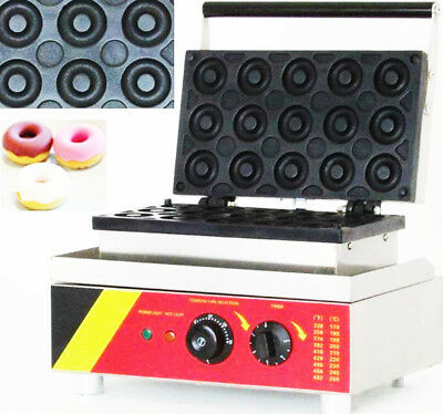 15 Grids Commercial Electric Snack Doughnut Donut Maker  Waffle  Machine  (110V)
