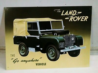 Land Rover - Go Anywhere Vehicle  OLD Vintage metal Sign copyright 1997