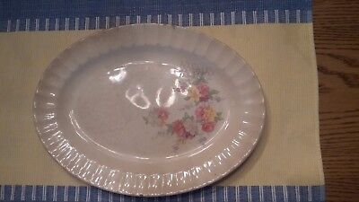 Knowles Porcelain Platter Purple, Pink Yellow And White Flowers With Fence