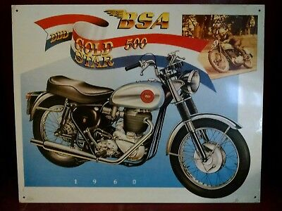 BSA 1960 GOLD STAR 500  with BSA LOGO & Picture of Racer Vintage Tin Sign