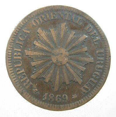 Uruguay 2 Centesimos 1869 Sunface 42# World Money Coin