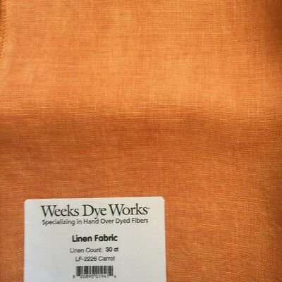 Weeks Dye Works hand dyed linen 30 count Carrot cross stitch embroidery