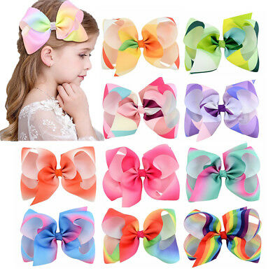 Girls Large Bowknot Hair Bow JoJo Hair Pins Alligator Clips Ribbon Hair Clip 8cm
