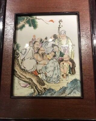 Old Chinese Antique Familer Rose 8 Luohans Porcelain Screen Asian China