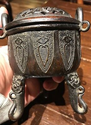 Anrique Chinese Ming Bronze Incense Burner It Marked Rosewood top Asian China