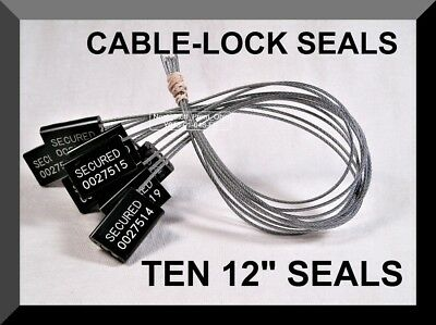 Cable-Lock Security Seals, Cargo / Tanker, Black, All-Metal, Ten Seals