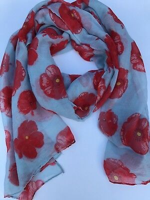 Remembrance Day Poppy Scarf Light Blue/Red * Remembrance Day * ANZAC Day