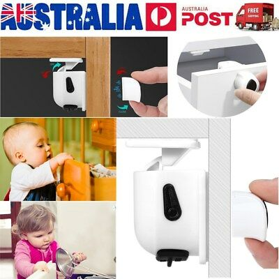 10Locks 2 Keys Magnetic Baby Child Infant Safety Cupboard Drawer Cabinet Door AU