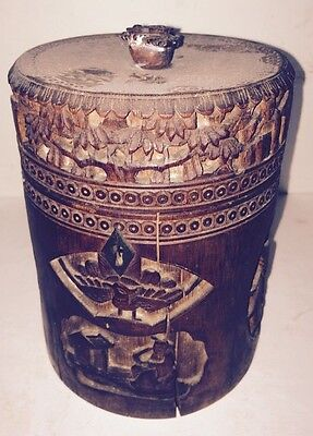 Antique Chinese Carved Bamboo Box/tea Caddy