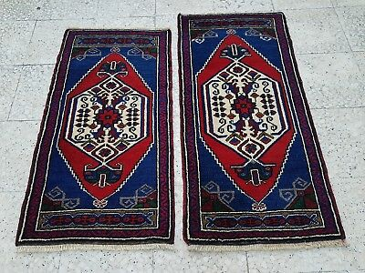 Pair Of Small Traditional Oriental Style 2 Pcs Area Rug Wool Hand Woven Mat Set