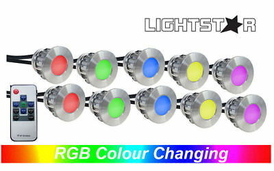 10 Piece Round RGB LED Deck & Step Light Kit DIY Stainless Steel Remote Control