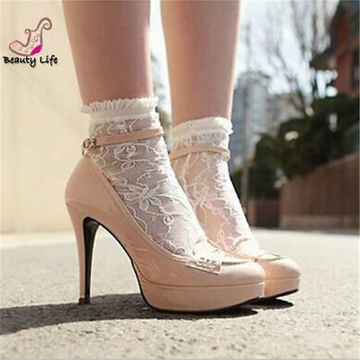 Women Girls Ankle Fancy Retro Lace Ruffle frilly princess Fashion Short Socks