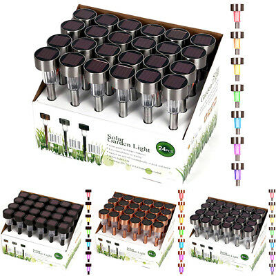 24 Pack Outdoor Solar Powered Color Changing LED Landscape Path Light Lamp Lawn