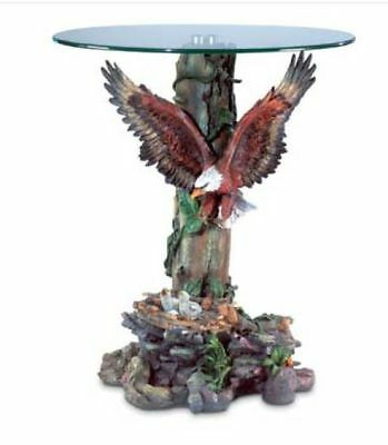 Accent Table Majestic Eagle Accent Glass Top Sculptured Detailed Nest
