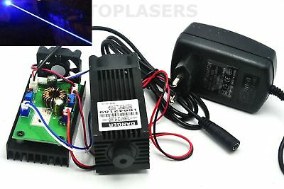 High Power 445nm 450nm 2W Blue Laser DOT Module Wood Engraving w 12V AC Adapter
