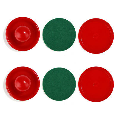 2X Air Hockey Table Goalies with 2pcs Puck Felt Pusher Mallet Grip Tools Red GL7