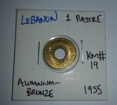 1955 1 Piastre coin from Lebanon in 2x2 holder