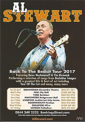 Al Stewart (Singer Year Of Cat) Back To Bedsit UK Tour 2017 Flyer / Handbill x 3