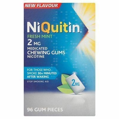 NiQuitin Fresh Mint 2mg Medicated Chewing Gums 96 Gum Pieces Damaged Box Sale