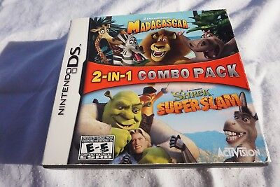 Madagascar and Shrek SuperSlam (Nintendo DS, 2006) 2-in-1 Combo Pack: Complete