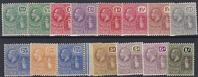 Virgin  Is  1922 - 28 S G  86 - 99  Various Values + Shades To 1/- Mh  Cat £72