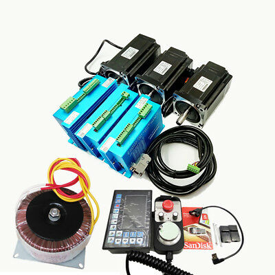 CNC 3Axis Nema34 12Nm Closed Loop Motor Drive Kit +Controller & Power +Handwheel
