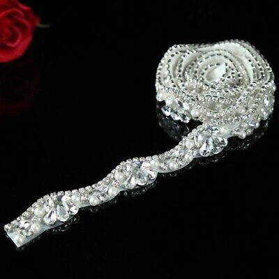 Rose Gold Silver Rhinestone Crystal Applique Sewing Applique Wedding Bridal Sash