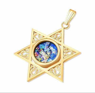14K Yellow Gold Star of David Roman Glass Pendant Necklace