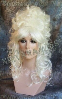 White High Cone Beehive Curls Long Dolly Parton Style Julienne R Wig