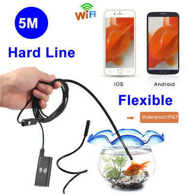 5m Waterproof WiFi Endoscope Rigid Inspection mini Camera for iPhone 8 X Samsung