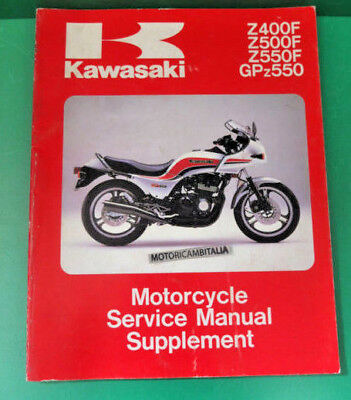 KAWASAKI GPZ 500 Z400 Z550 manuale officina supplement owner's service manual