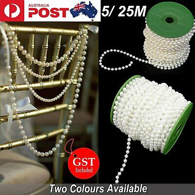 5/25M Pearl Beads String Roll Garland String DIY Wedding Party Trim ABS 6mm Deco