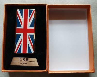 Union JACK USB Rechargeable Electric Pulse Cigarette Lighter Windproof Flameless
